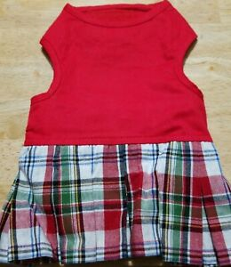 PETCO CAT DOG RED PLAID DRESS PLEATED SKIRT COSTUME CLOTHES HOOK LOOP CLOSE