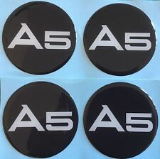 ALLOY WHEEL CENTRE CAPS STICKERS DOMED RESIN STICKERS TO FIT AUDI A5 55MM