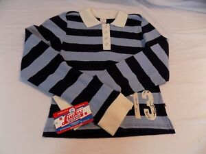 New Vtg Lucky Brand Rugby Shirt Blue Stripes 13 Collar with Snaps Girls S M L XL