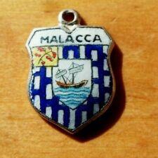 Enamel Shield Charm Vintage Malacca Silver Plated