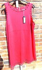 M&S FUCHSIA PINK SLEEVELESS DRESS WITH CUT OUT CIRCLES DETAIL, SIZE 20 REG, BNWT