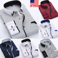 US Luxury Men Stylish Casual Dress Shirt Slim Fit T-Shirt Long Sleeve Formal Top
