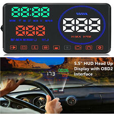 "5.5"" Car HUD Head Up Display OBD2 Interface Speeding Warning HD Image Reflection"
