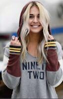 Free People Sweatshirt Hoodie Graphic Ribbed Trim Detail Hood Sleeve Gray L NWT