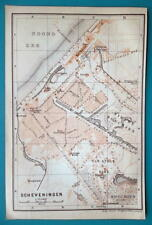 "1905 BAEDEKER MAP - Holland Scheveningen City Town Plan  4"" x 6"" (10 x 15 cm)"