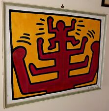 Keith Haring Signed Painting On Canvas  Acrylic No Picasso,basquiat,Warhol