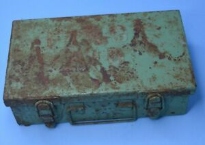 """Vintage green Metal First Aid kit Box  latches/handle 8x4.5x2.5"""" aprx AGED WORN"""