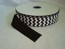 "New listing 100 Yards- 1.5"" - 1 1/2"" Black and White Chevron Grosgrain Ribbon-100% Polyester"