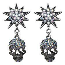 KIRKS FOLLY STARLIGHT SKULL KING PIERCED EARRINGS  black / antique silvertone