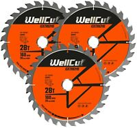 3 x WellCut Plunge Saw Blade 160mm x 28T x 20mm Suitable For Festool TS55 HK55