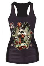 Da Donna Wild Card Tank Top-Harley Quinn Joker Stile Gilet-Nero