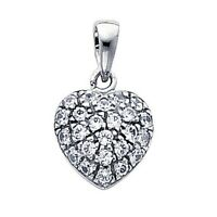 """14K Solid White Gold 0.25ct Diamond Pave Cluster Heart Pendant 1/2"""""""