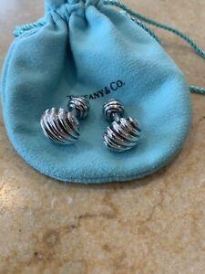 Vintage Tiffany & Co. Italy 925 Sterling Silver Ridged Shell Bar Style Cufflinks