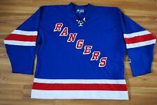 NEW YORK RANGERS JERSEY VINTAGE 90s STARTER NHL HOCKEY BLUE SEWN EMBROIDERED XXL