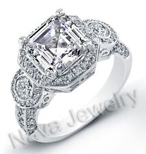 3.10 Ct Asscher Cut Diamond Engagement Bridal Ring EGL