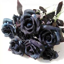 Decor Faux Silk Flower Bouquet Black Rose Flower Home Office Artificial Roeses