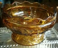 Vintage AMBER PRESSED GLASS LARGE FOOTED CANDY OR NUT DISH STAR DESIGN