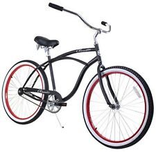 "26"" Classic Men beach cruiser bicycle bike Black w red rims"