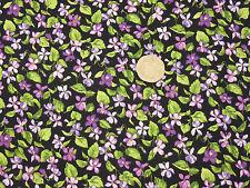 Quilting Fabric Purple Pink Wild Violets Black BG Fat Qs 100% Cotton | BKF6