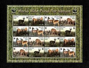MODERN GEMS - Malawi 2003 - WWF, Nature Puku Antelope - Sheet of 16 Stamps - MNH