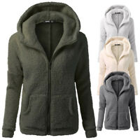 Womens con cappuccio maglione invernale calda lana zip cotone cappotto Outwear
