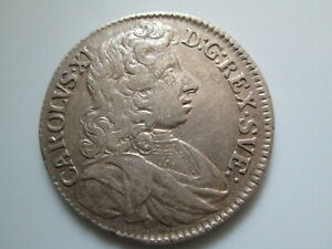 Sweden medieval  silver coin, Karl XI 2 mark 1684, Stockholm