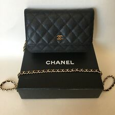 AUTHENTIC Chanel Wallet on Chain Black Caviar Leather with Gold Hardware