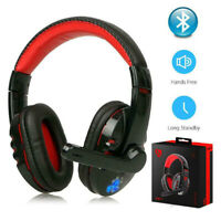 Wireless Bluetooth Gaming Headset Headphone Stereo w/ Mic for Android Ios UK