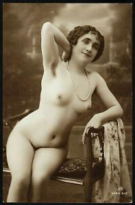 Original 1910 French Postcard Photo Voluptuous Teaser Nude Girl Jean Agelou