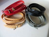 Four  Leather Wrap Around Bracelet with 925 Silver Buckle with Hanging Heart