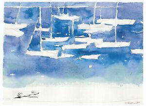 Postkarte: Oskar Koller - Weiße Segelboote