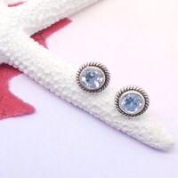 Blautopas rund blau Nostalgie Design Ohrringe Ohrstecker 925 Sterling Silber neu