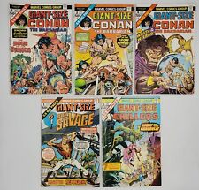 5) 1974-75 Marvel Comics Book Lot Giant-Size Conan Doc Savage Chillers Avg-VF