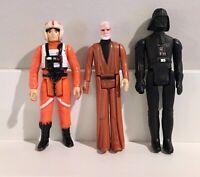 1977 Vintage Star Wars Action Figure Dark Vader Kenobi Skywalker LOT Kenner 🔥