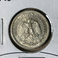 1930 Mexico 20 Centavos Silver Coin XF/AU Condition Key Date