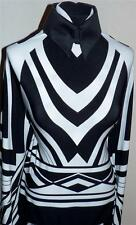 Black and White Art Deco Border Print Lycra Stretch Fabric By the Yard