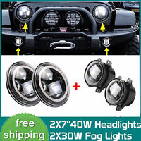 7inch LED Halo Headlights + 4'' LED Fog Light DRL Combo Kit For Jeep Wrangler JK