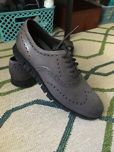 NEW Cole Haan Zerogrand Leather Wingtip Shoes Magnet Gray/Black 10.5 M $190