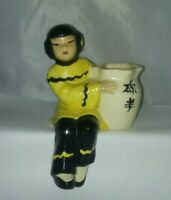 Vintage California Pottery Asian Lady Wall shelf Pocket Planter Vase Collectible