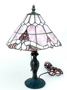 Vintage Tiffany Style Pink Table Lamp Glass