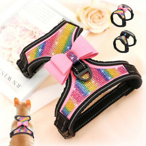 Bling Rhinestone Dog Harness Soft Mesh Padded Vest Multicolor Diamond Corgi Pug