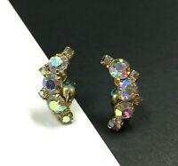 Vintage JULIANA Clip Earrings Prong Set AB Rhinestone Crescent Gold PL HH35i