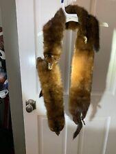 VINTAGE Genuine Mink Fur Scarf Wrap 3-Pelts Dark Brown Shawl Collar RARE Beauty