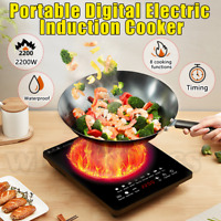 2200W Electric Induction Cooker Single Portable Burner Cooktop Digital Hot Plate