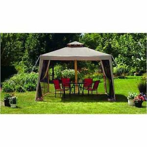 SunJoy 10 x 10 Gazebo Large Canopy top with Mosquito Netting L-GZ098PST-1A