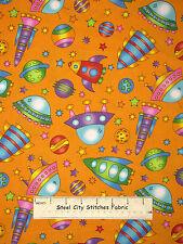 Space Ship Saucer Toss Cotton Fabric RJR 2039 Welcome To My World Orange YARD