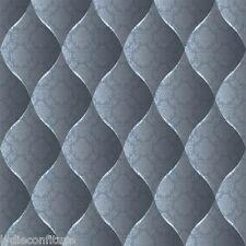 Joli rouleau de papier peint trompe-l'oeil capitonné couleur bleu gris   neuf