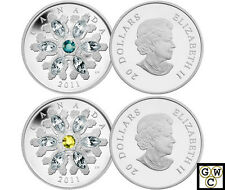Both 2011Topaz & Emerald Crystal Snowflake Prf $20 Silver Coins Fine(NT)(12875)
