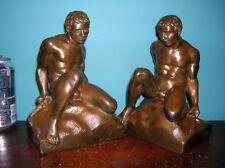 Roman gladiator bookends Galvano bronze clad, exc. condition, BIG, 8 lbs, 1915