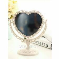 Vintage *Ivory Col* Heart-Shape Dual Sided Makeup Bathroom Vanity Dresser Mirror
